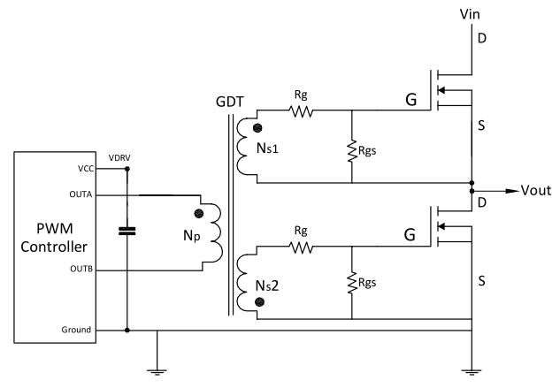 Double-Ended Transformer-Coupled Gate Drive Circuit Diagram