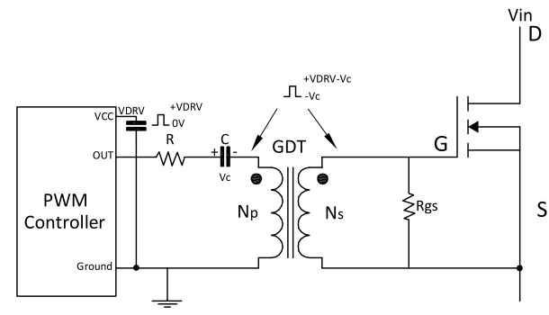 Single-Ended Transformer-Coupled Gate Drive Circuit Diagram