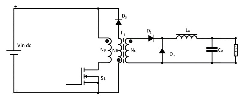 SMPS: Asymmetrical Isolated Converters Forward Converter One Switch with reset winding diagram