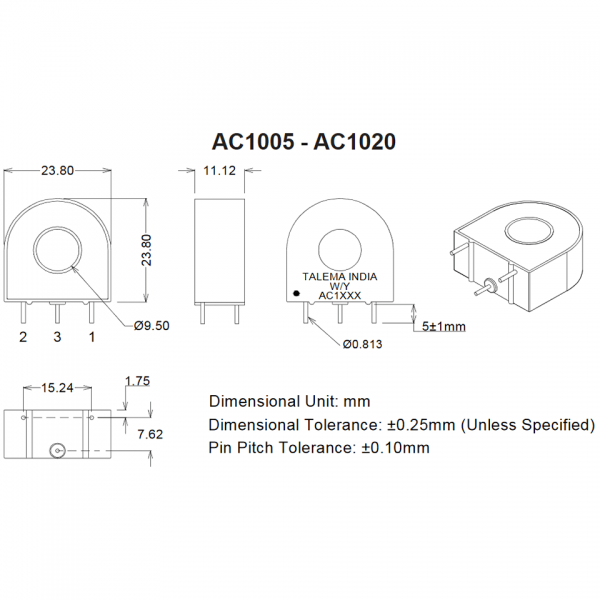 Dimensions of AC Series Current Transformers AC1005 to AC1020