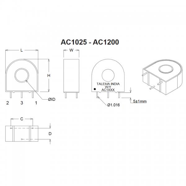 Dimensions of AC Series Current Transformers AC1025 to AC1200