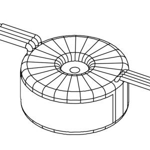 Wireframe drawing of a toroidal transformer