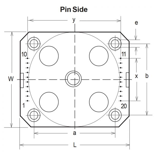 PCB Mounting toroidal transformers drawing - top view with pin layout