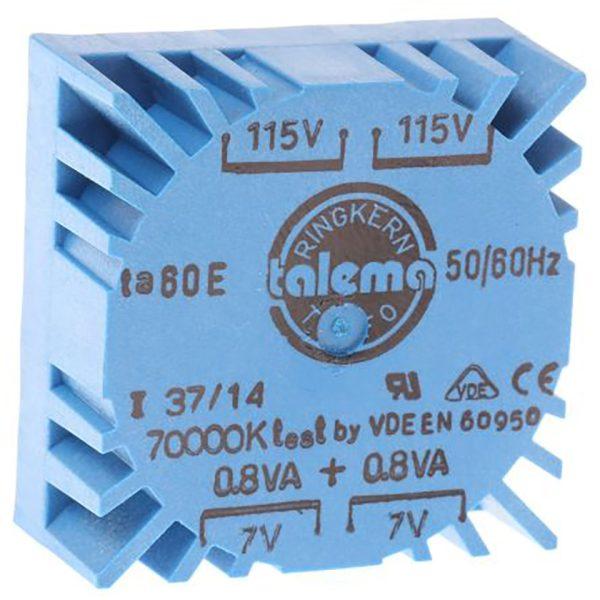 Low Profile PCB Mounting Transformer 1.6VA, part number 70000K