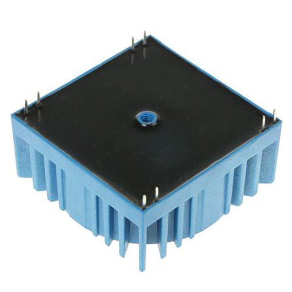 Transformateur de montage sur circuit imprimé à profil bas regardant le fond (surface en résine) avec des broches