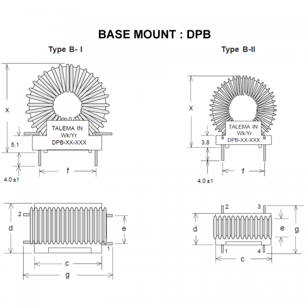 Drawing of DPB : Base mount style of power inductor DP Series
