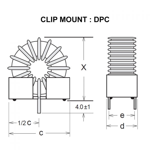Drawing of DPC : Clip mount style of power inductor DP Series
