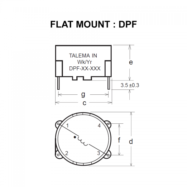 Drawing of DPF : Flat mount style of power inductor DP Series