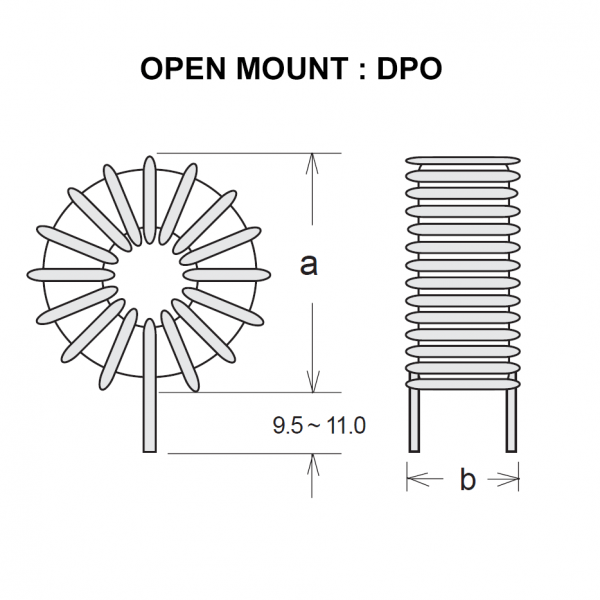 Drawing of DPO : Open mount style of power inductor DP Series