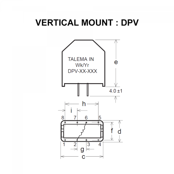 Drawing of DPV : Vertical mount style of power inductor DP Series