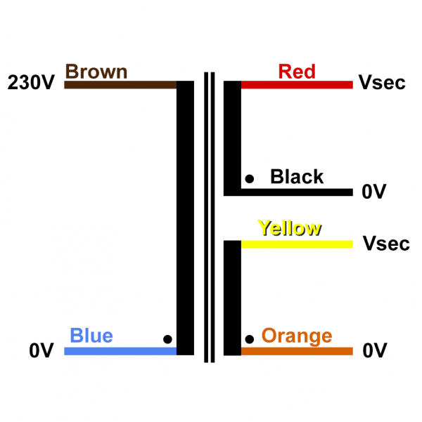 Transformer Schematic Drawing with colour codes Single Primary 230V