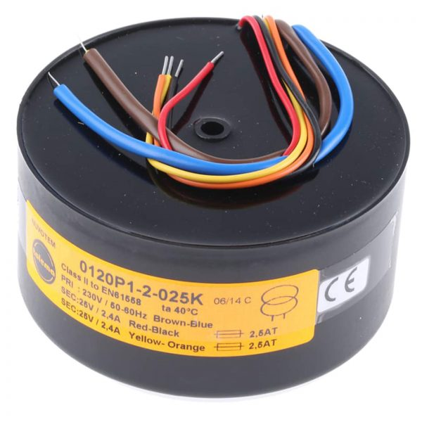 Encapsulated Toroidal Transformer 120VA 230V Primary, 2x25V secondary