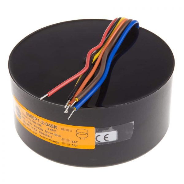 Encapsulated Toroidal Transformer 500VA 230V Primary, 2x45V secondary